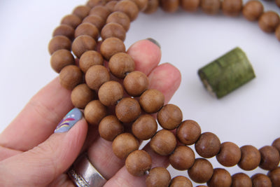 108 Natural Sandalwood Mala: 12mm Aromatic Wood Beads from India, Meditation Necklace, Prayer Beads