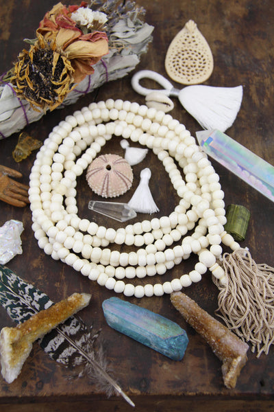 White Rondelle Bone Beads 8mm, 108 Bead Mala