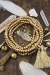 Golden Glow Bone Mala Beads, 108 beads, Exclusive Metallic Color, Boho Yoga Jewelry Making Supply, Rondelle Beads for Bracelets, Yoga Mala