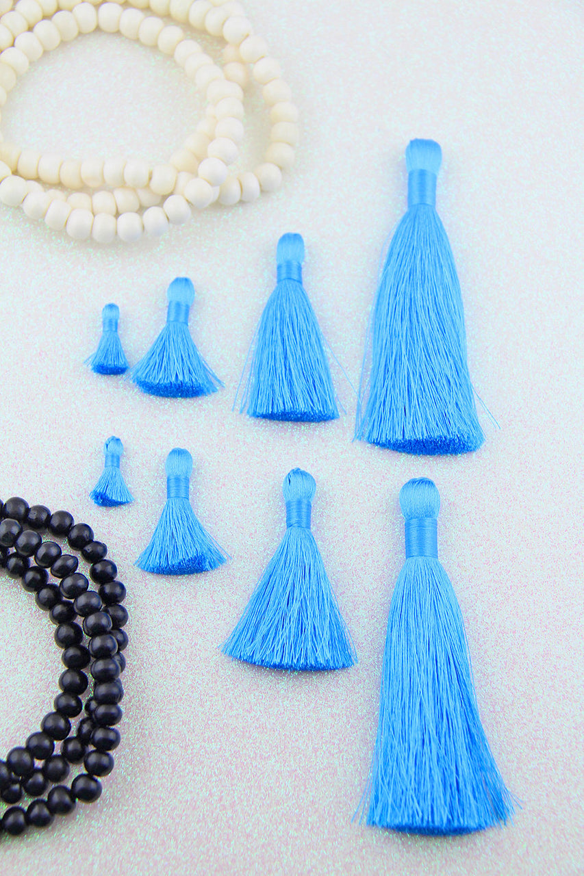 Carolina Panthers Blue Silky Jewelry Tassels, Choose from 4 Sizes, 2 Pcs