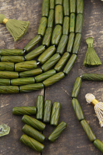 Olive Green Barrel: Hand Carved Bone Spacer Beads, 8x25mm, 8 Pieces, Bohemian Jewelry Making Supply