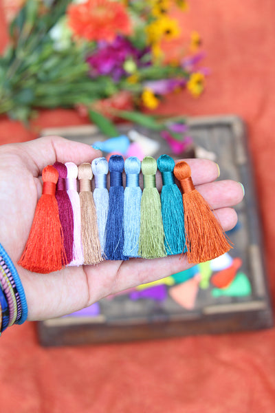 2 Inch Silky Jewelry Making Tassels, Wholesale Silky Tassels