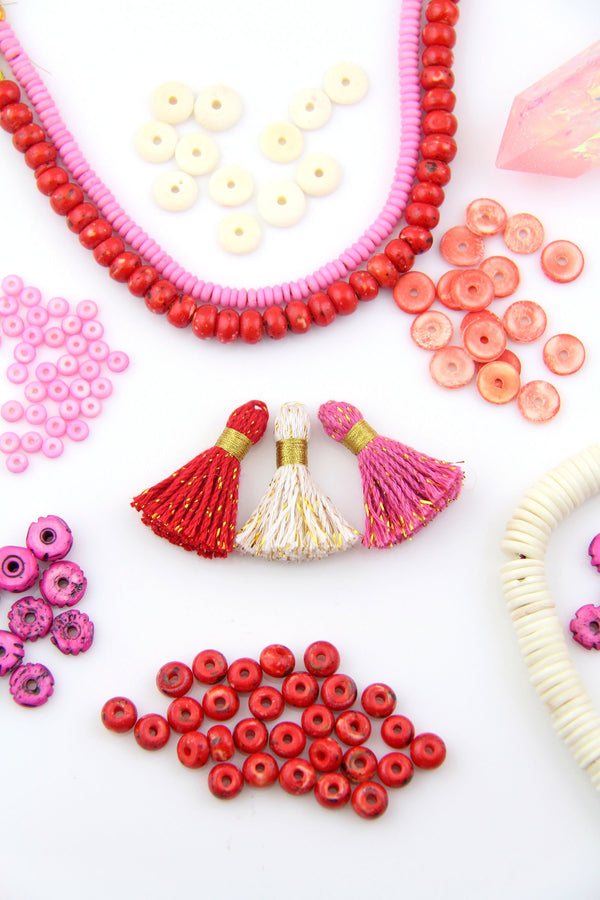 "Be Mine: Cotton & Sparkly Tinsel Tassels, 1.25"" Fringe Pendant, Galentines Day Craft Supplies"
