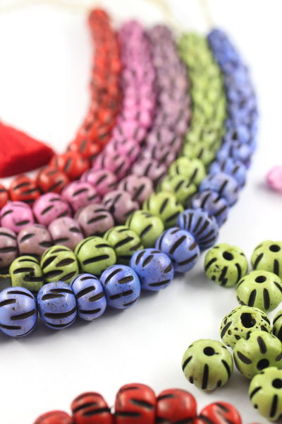 Hand Carved Melon Bone Beads, Bohemian Jewelry Making Supplies, DIY Beaded Necklace or Bracelet
