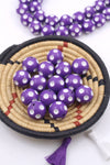 Carved Vintage Lucite Round Beads, Purple/White Polka Dots, 20mm
