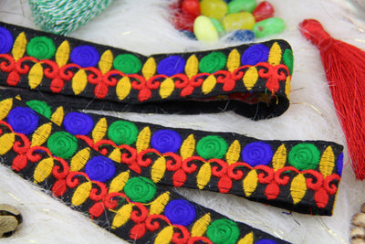 "Holiday Lights Festive Colorful Embroidered Trim, Ribbon, Sari Border, 1"" x 1 yard, Supply"