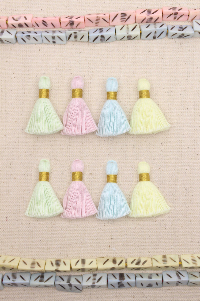 "Pastel Mini Tassels Mix: 1.25"" Short Pale Cotton Fringe, 8 pieces"