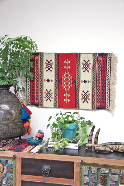 Small Turkish Area Rug, Hand Woven Kilim, Red and Blue, 2 x 3 - ShopWomanShopsWorld.com. Bone Beads, Tassels, Pom Poms, African Beads.