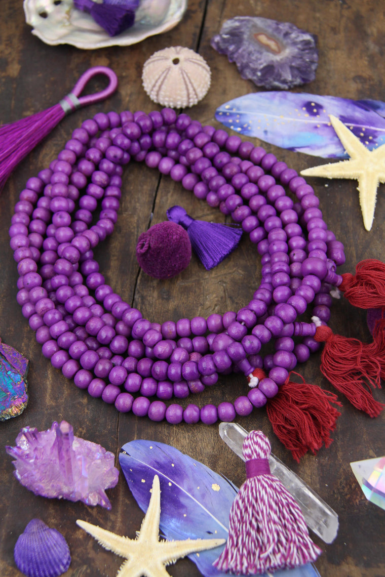 Purple Bone Mala Beads, 108 beads, Boho Yoga Jewelry Making Supply, Yoga Mala