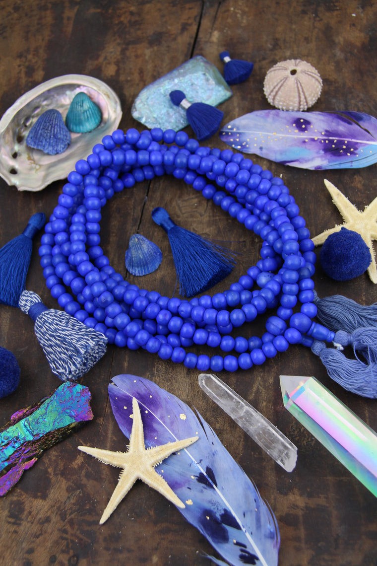 Royal Blue Bone Mala Beads, 108 beads, Exclusive Color, Boho Yoga Jewelry Making