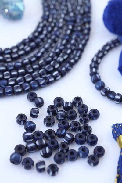 Indigo Striped Rondelle: Blue & White Bone Beads, 6x5mm, 40 pcs, Mala Spacers, Jewelry Making Supply