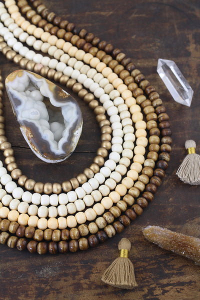 108 Bead Mala: Neutral Yoga Inspired Jewelry, Beaded Boho Necklaces, Unique Intentional Living Tool