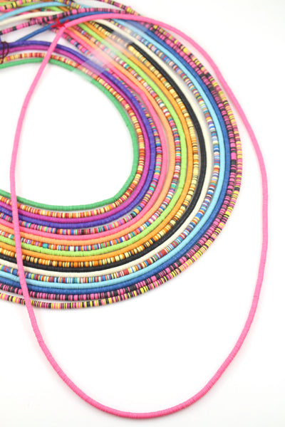 4mm Vinyl Record Beads: Ghanaian Heishi Disc Spacers, Striped Tribal Necklace from Africa