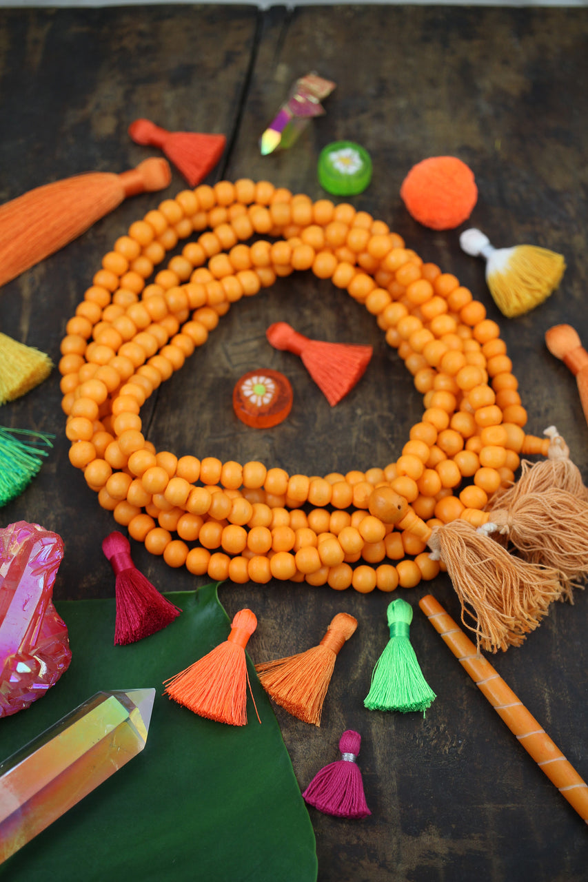 Orange Crush Bone Mala Beads, 108 beads, Exclusive Color, Yoga Jewelry
