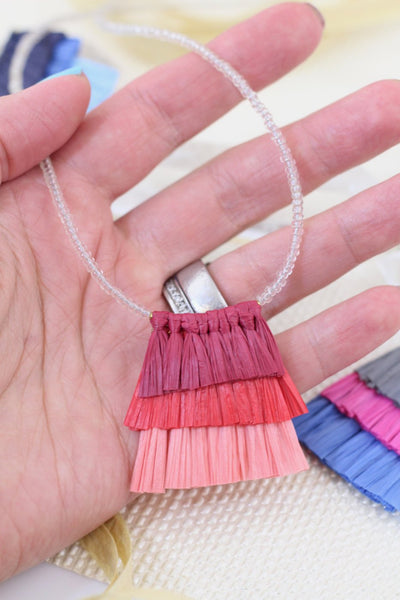 "Tiered Raffia Tassels for Necklace,1.5"" Layered Pendant,Eco-Friendly Necklace"