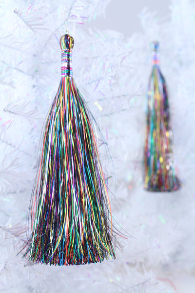 "Long Rainbow Tinsel Tassels, 6.5"" Fringe, Festive Jewelry Making Charm"