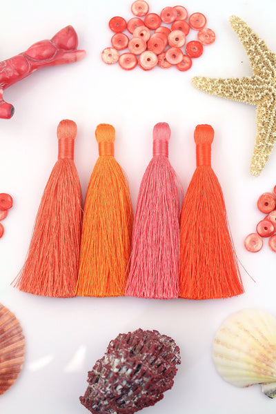 "Living Coral Mix: Silky Luxe Jewelry Tassels, 3.5""  Fringed Pendants for Jewelry Making,Craft Supply"