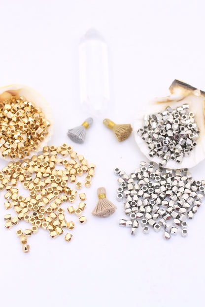 Raw Brass 3mm Faceted Metal Spacer Beads, Silver or Gold Color, 30 or 100 pcs.