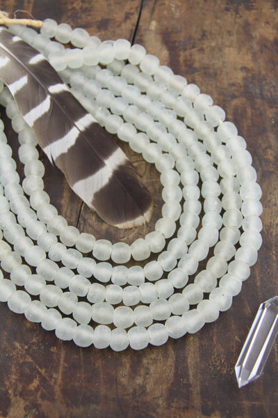 Clear Krobo Recycled African Glass Beads, Sea Glass, 14mm, 40 pieces