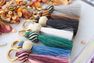 Horse Hair & Brass Tassel Keychains: Handmade Boho Jewelry Charm, Focal Fringe Pendant for Necklaces