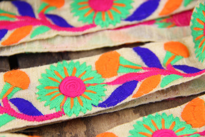 Hand Embroidered Sari Border from India