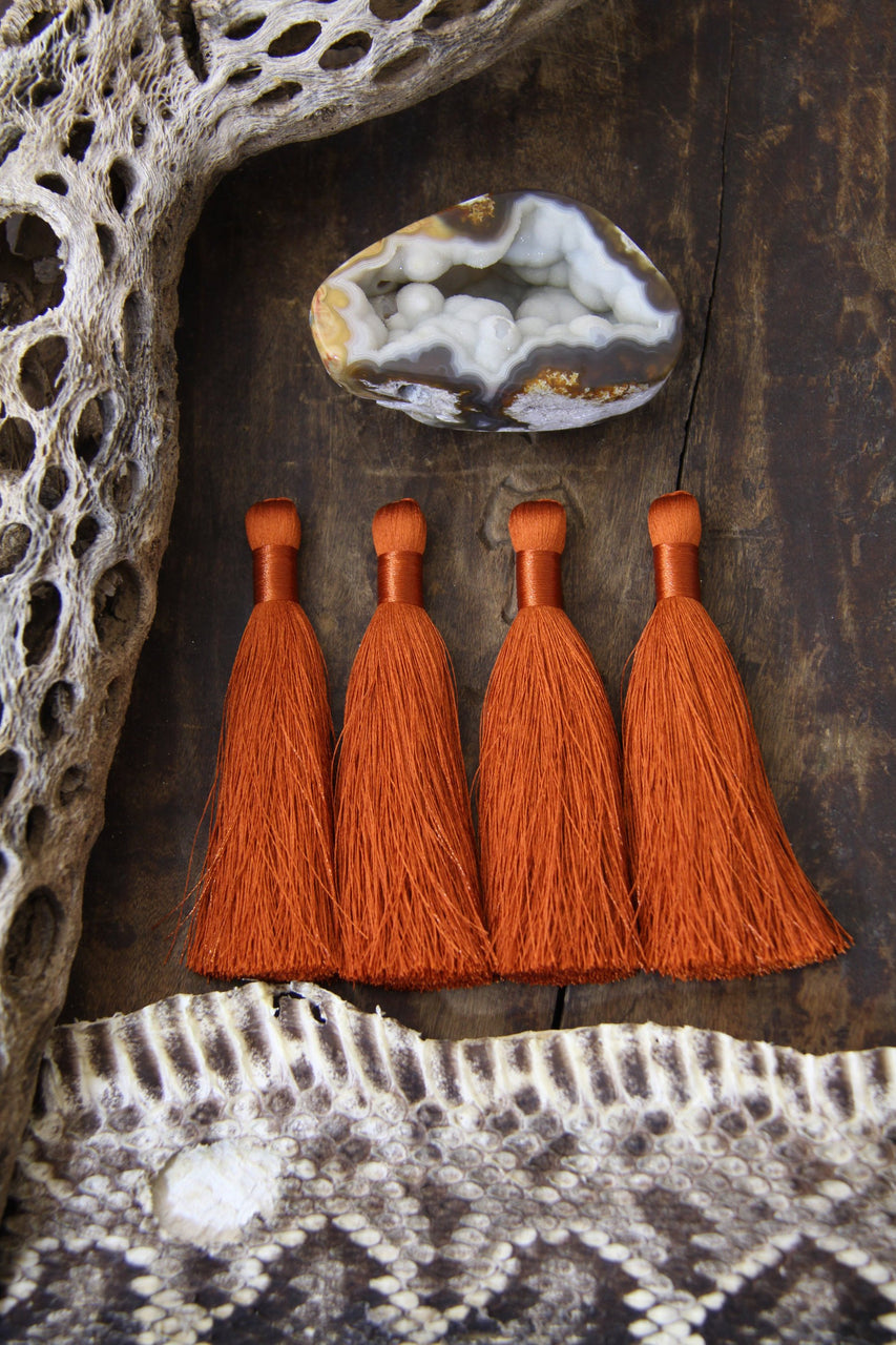 "Burnt Orange Silky Luxe Jewelry Tassels, Handmade 3.5"" Fringed Pendants"
