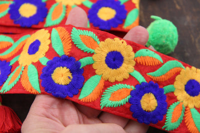 "Embroidered Silk Trim: Red, Yellow, Blue Floral Ribbon, 2"" x 1 yard"