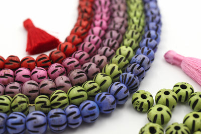 Hand Carved Melon Bone Beads, Bohemian Jewelry Making Supplies, Red, Pink, Purple Spacers from India