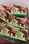 Neon Elephant Parade: Pink, Green, Tan Silk Ribbon, Sari Border, 3.5""