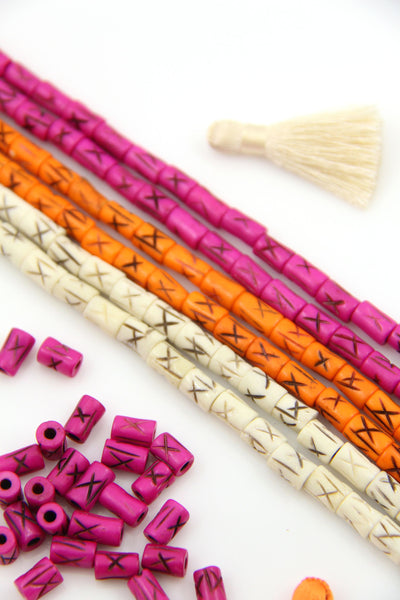 Cream, Orange, Pink Spacer Beads