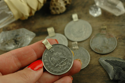 Vintage Kuchi Coin Pendants, Assorted Sizes, 10 Pieces