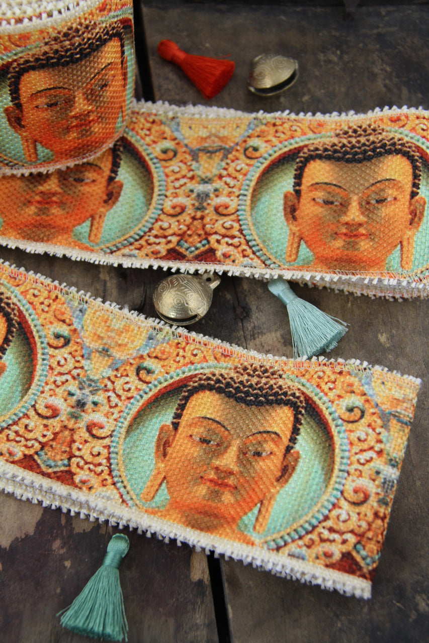 "Buddha Burlap Ribbon from India, 3.25"", Spiritual Sewing Supply"