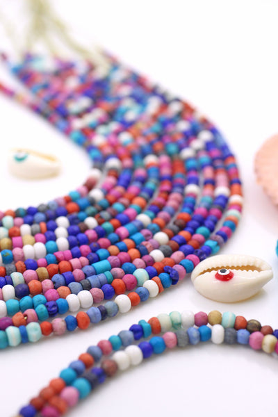 Colored Wood Beads, 4mm, Blue, Pink, White, Natural Stained Rondelle Beads, 90+ pieces