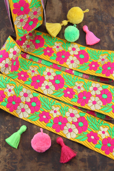 "Yellow Mermaid Garden Ribbon: Jacquard Indian Sari Border/Trim, 2""x1yd"