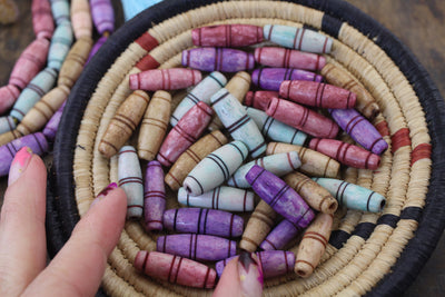 Grooved Barrel Carved Bone Beads, 10x25mm, Purple, Minty Blue, Dusty Rose, Light Brown, 9 pcs