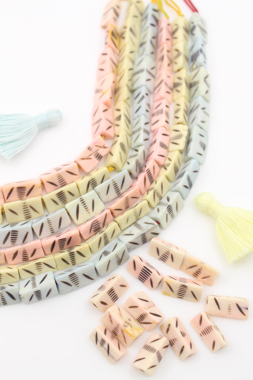 Pastel Triangle Beads: Handmade Carved Bone Charms, 8x16mm
