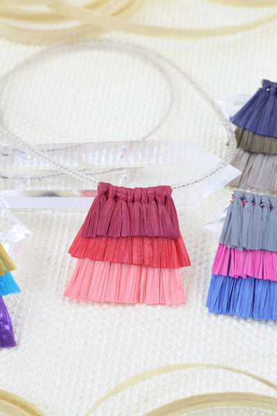 "Tiered Raffia Tassels for Necklace,1.5"" Layered Pendant,Eco-Friendly Natural Raffia Fringe"