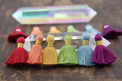 "Autumn Rainbow Mix, 6 Mini Tassels,1.25"" Cotton Fringe for DIY Jewelry Making"