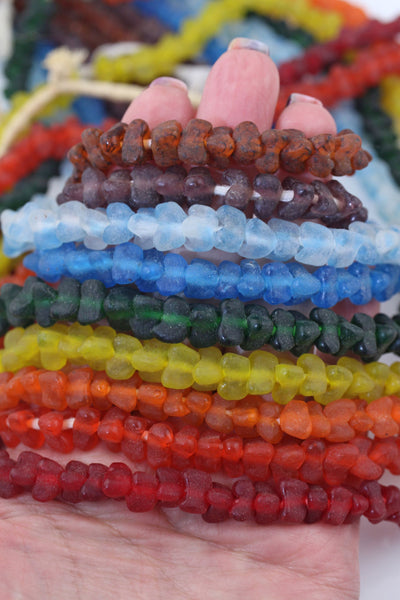 African Triangle: Geometric Recycled Ghana Glass Beads, 8-9mm, Assorted ROYGBV Jewelry Supplies