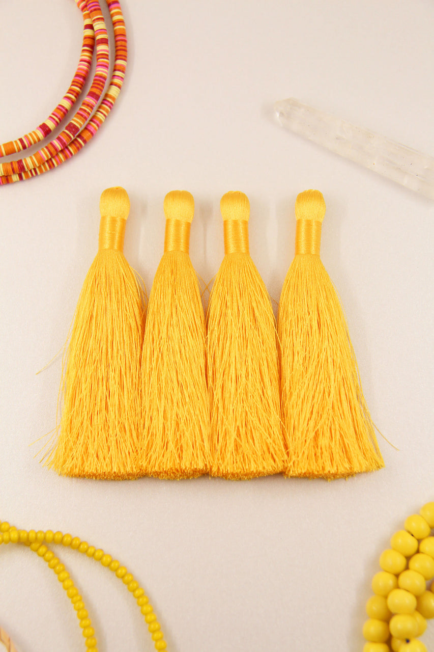 "Silky Luxe Tassels: Yellow 3.5"" Silky Jewelry Making Supplies, 2 Pieces"