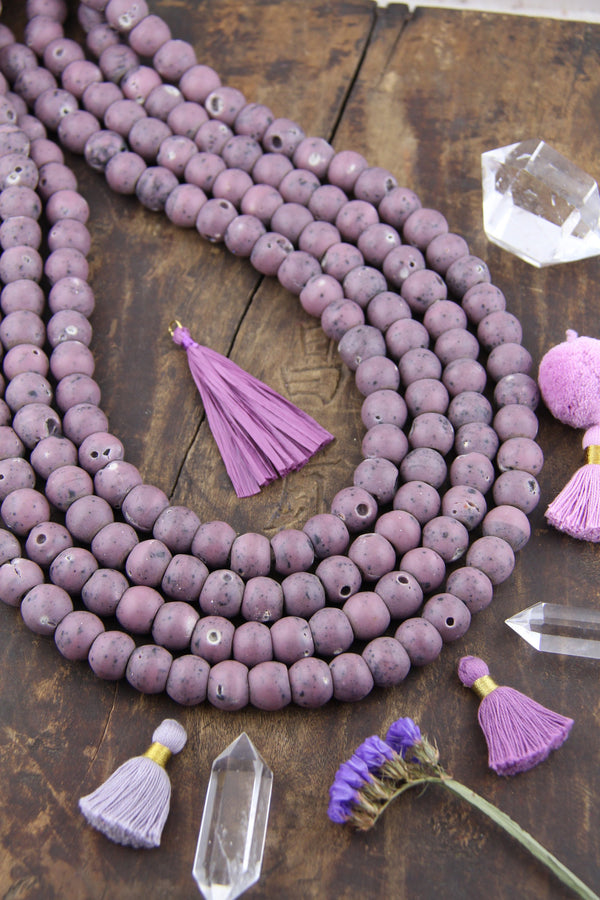 Round Glass Beads: 14mm Purple African Jewelry Making Supplies, 60pc