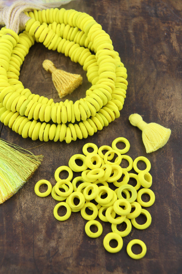 Dutch Donut Beads - Gen Z Yellow: Large Hole African Glass, 11-12mm Charm Pendants, Jewelry Making