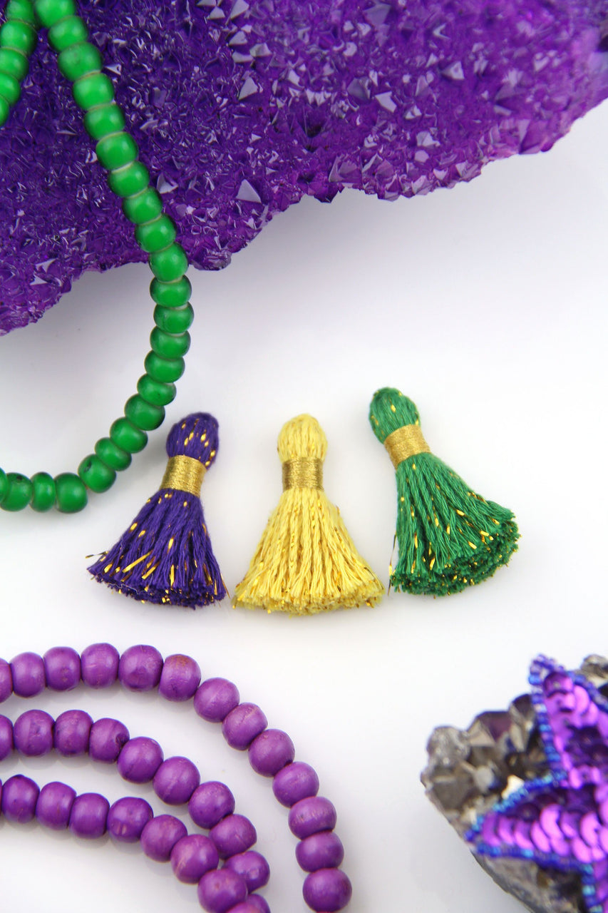 "Mardi Gras: Cotton & Sparkly Tinsel Tassels, 1.25"" Fringe Pendant Charms, Jewelry Making Supplies"