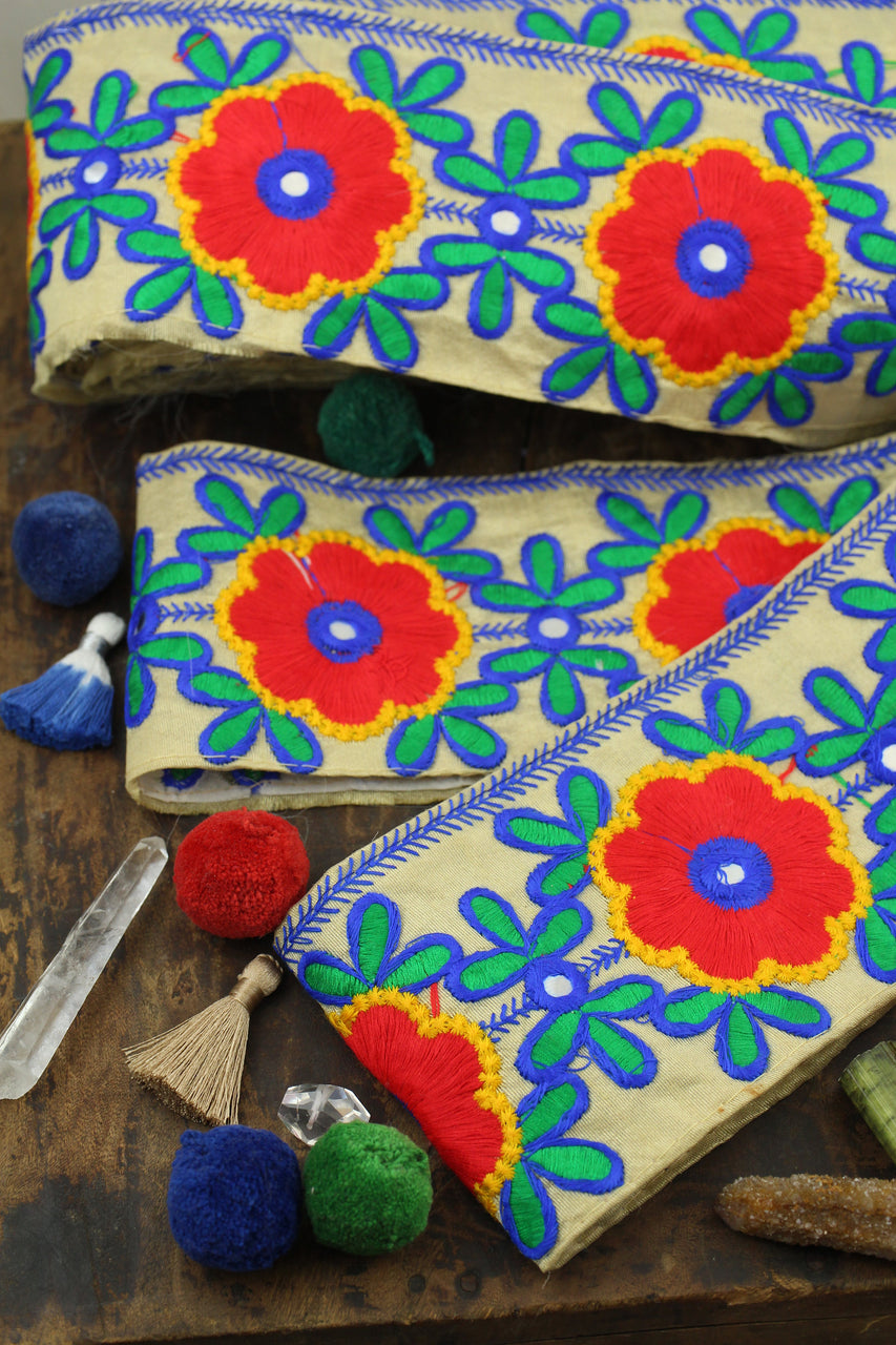 "Primary Posey Party: Red, Blue, Green, Yellow, Tan Floral Trim, Ribbon from India, 3.5"" x 1 yard"