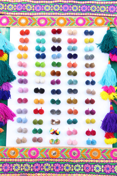 "Luxe Cotton Pom Poms w/ Loops, 1"" Pom Baubles, 3+ Pairs"
