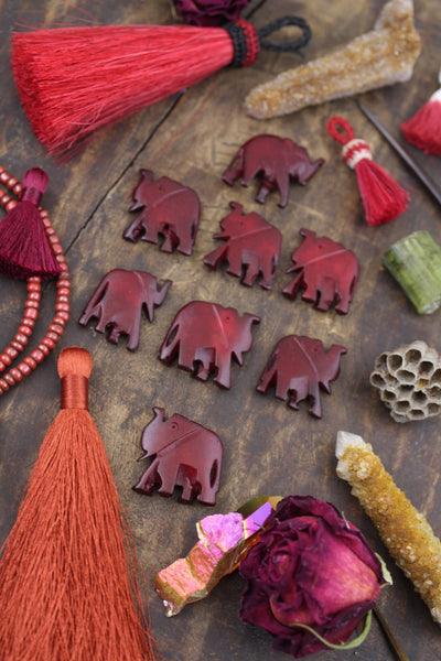 Herd of Burgundy Elephants : Hand Carved Bone Totem Focal Beads, 26x38mm,  8 pcs