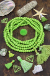 Greenery Green 8mm Bone Mala Beads, 108 bead Yoga Mala, Jewelry Making Supply