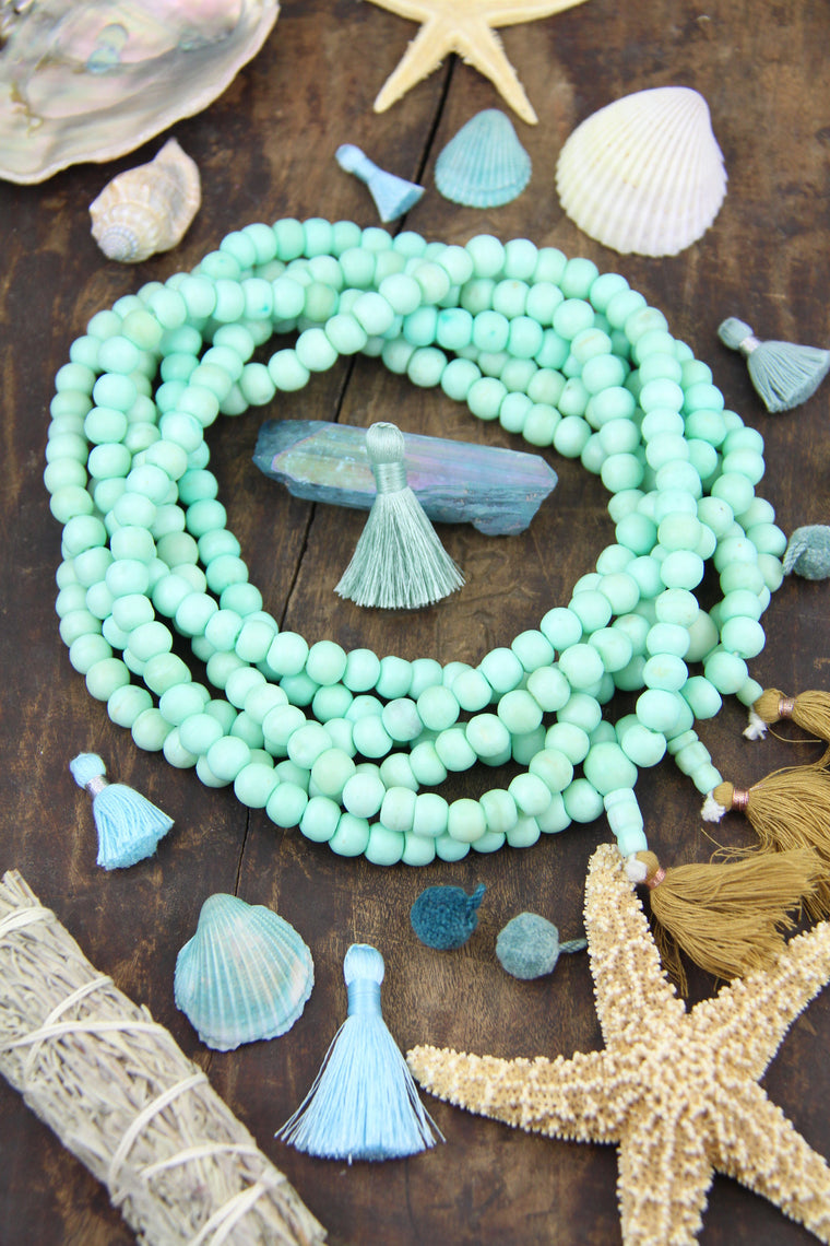 Minty Blue Bone Beads, 8mm 108 bead Yoga Mala Necklace, Jewelry Making