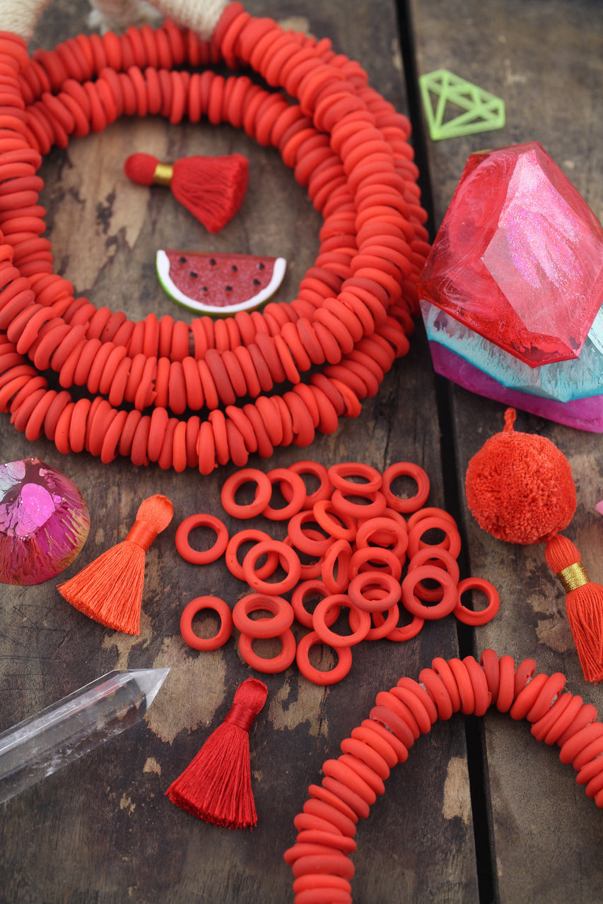 Dutch Donut Beads - Carrot Red African Glass, 11-12mm, 10 pieces