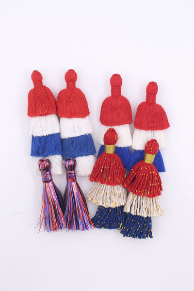 Fourth of July Tassels, Red, White, and Blue Handmade Cotton + Tinsel
